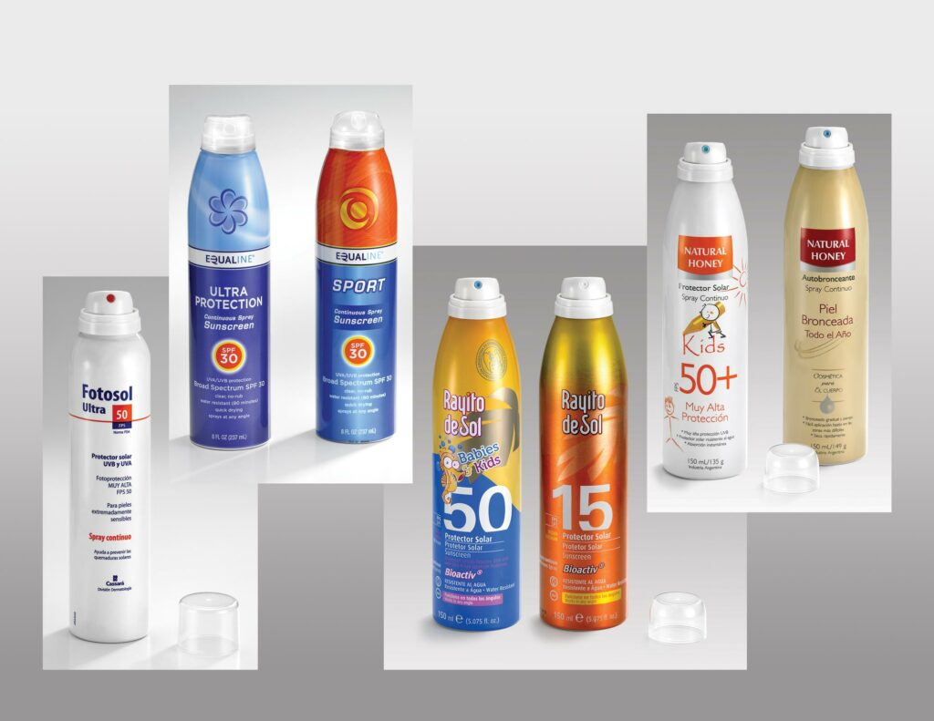 Equaline Continuous Sunscreens use Coster bag-on-valves, while Fotosol Ultra, Rayito de Sol and Sun Natural Honey use both Coster BOVs and Serie 1800 standard actuators