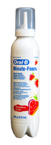 Oral B Minute-Foam Topical Fluoride Foaming Solution from P&G. Bottle by Drug Plastic & Glass Co., Inc. Valve, spout and cover cap  by Aptar.
