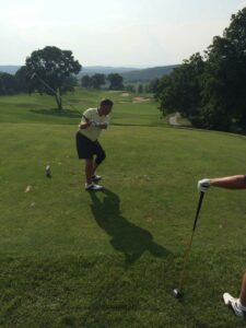 Joe Franckowiak, Berry Plastics, teeing off on the 18th hole.