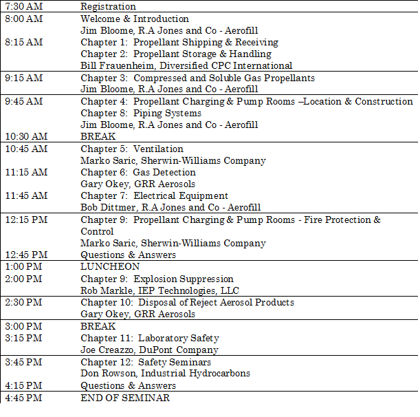 CSPA Aerosol Propellants Safety Seminar Schedule (Click image to enlarge)