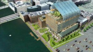 The parcel along the Fort Point Channel brings the size of GE's Boston campus to 2.7 acres, which means at least half of it qualifies as the open space needed to obtain a state waterfront permit.