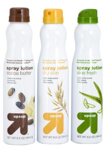 Up & Up Spray Lotion, distributed by Target, is available in Cocoa Butter, Dry Skin and Aloe Fresh formulas and is packaged in a BOV system with Moritz twist-to-lock accessory from Aptar.